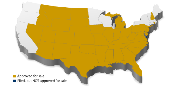 Americo Medicare Supplement state approval map